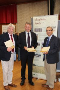 L to R James Armour, Chair Heritage & Cultural Centre, Barclay Bell, President Ulster Farmers' Union, Mukesh Sharma, Committee Member Heritage Lottery Fund NI
