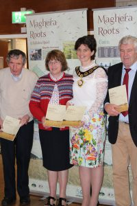 Cllr. George Shiels, Cllr. Anne Forde, Cllr. Kim Ashton, Chair Mid-Ulster District Council and James Armour, Chair Maghera Heritage & Cultural Centre at the launch of Maghera Roots