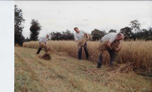 Tying of sheaves after the reaper. (l-r) Raymond McNamee, Willie Turner & Michael McNamee