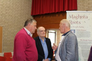 Chatting at the opening of Maghera Roots