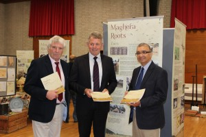 L to R James Armour Chair Heritage & Cultural Centre, Barclay Bell President Ulster Farmers' Union Mukesh Sharma MBE Heritage Lottery NI