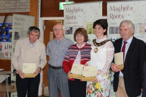 ICllr George Shiels Peter Etherson MHS , Cllr Anne Forde, Cllr Kim Ashton Chair Mid Ulster District Council, James Armour Chair Maghera Heritage & Cultural Centre